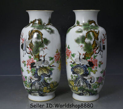 "11.2"" Yongzheng Marked China Famille Rose Porcelain Crane Birds Bottle Vase Pair"