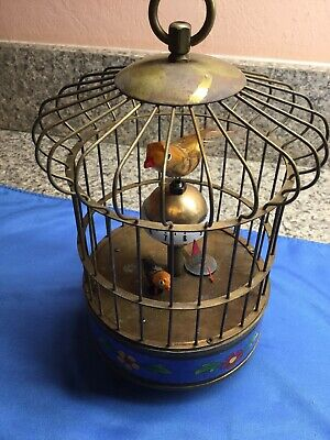 Art Deco Vintage German Mechanical Bird Cage Novelty Alarm Clock