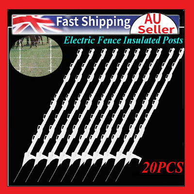 20Pcs Tread In Poly Posts For Electric Fence Wire Tape Insulated Post Graze AU
