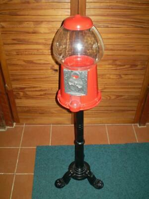 vintage style mini coin operated gumball machine with stand  collectable working