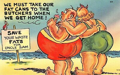 "VINTAGE 1959 Comic ""We MUST Take Our Fat Cans To The Butchers..!"" Linen Postcard"