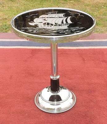 Art Deco Chrome Side Table With Galleon Design Glass Top