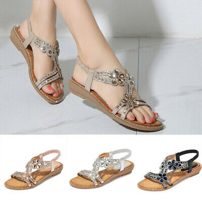 Bohemia Summer Women Ladies Bling Flower Crystal Flat Sandals Beach Casual Shoes
