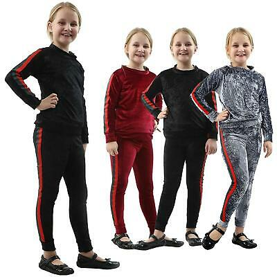 New Girls Velour Stripe Tracksuit Top & Bottom Set Kids Velvet Lounge Wear Suit