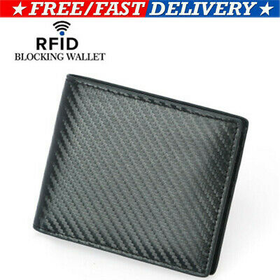 CA RFID Blocking Men's Genuine Leather Carbon Fiber Bifold Card Holder Wallet