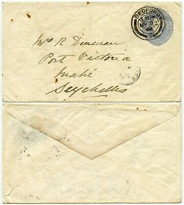 GB QV STATIONERY to SEYCHELLES 1904 BEDFORD to MAHE