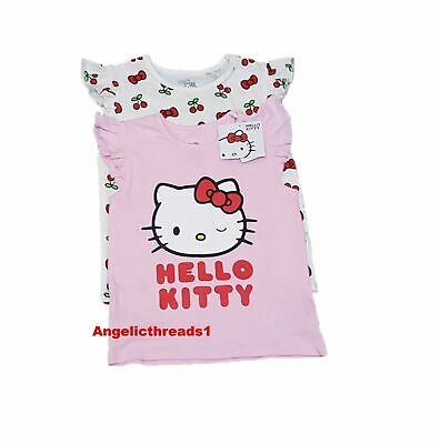 Primark Kids Girls Hello Kitty Summer Cotton T-shirt Gift New Pack of 2