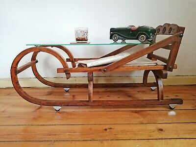 Beautiful Vintage Wooden Sleigh Sled Coffee Table