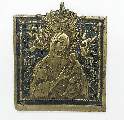 18c.ANTIQUE RUSSIAN BRONZE ENAMEL ICON of the MOTHER of GOD
