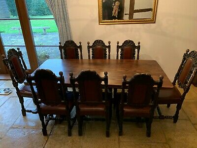 Set of 8 Victorian Hand Carved Oak Chairs