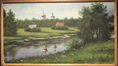 Oil painting on canvas, rural landscape , Russian Orthodox Church view, Signed