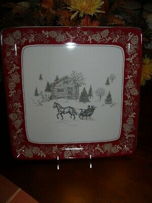 """222 Fifth Andover 14"""" Large Square Platter Christmas Sleigh Cabin Winter Holiday"""