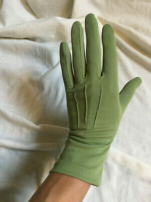 Vintage 1960s DENT FOWNES Olive Green Nylon Wrist Gloves Size 7