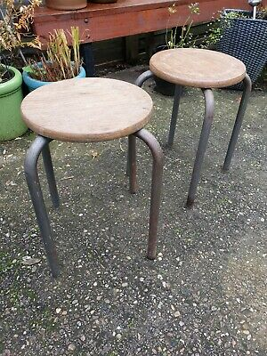 Old rustic French vintage metal and wood stool