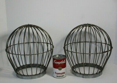 Pair (2) Vintage Architectural Industrial Metal Cage Light Bulb Ceiling Shades