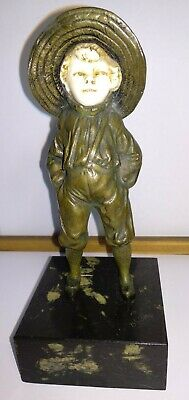 Antique French bronze sculpture Chryselephantine Art Deco BAILLY boy straw hat