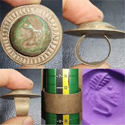Wonederful Ring Old Roman Emperor Turquoise Stone intaglio Face   # 53