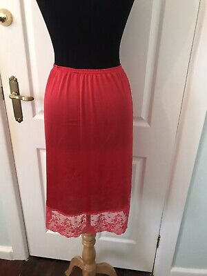 Vintage Vanity Fair Cherry Red Half Slip French Lace Size Small Retro Bombshell