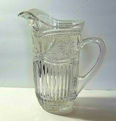 VINTAGE HEAVY PRESSED CLEAR GLASS PITCHER RIBBED 24 oz.