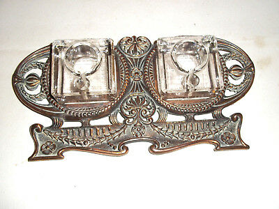 Fine Ornate Antique Coppered Brass Double Inkstand c1900
