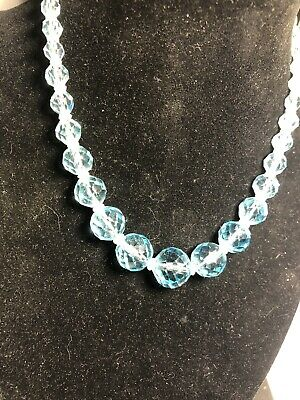 Vtg ANTIQUE Art Deco  Necklace Cut Glass Crystal Bead Turquoise Sterling Clasp