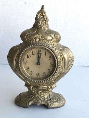 "brass table clock vintage French style 8"" Nad TLC"