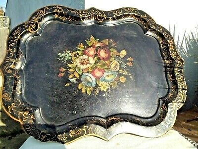 Large Victorian Lacquered Hand Painted Papier Mache Tray