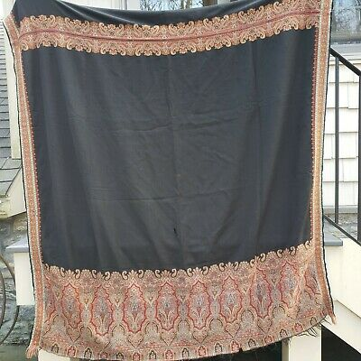 "Antique Black French Paisley Kashmir Piano Shawl Hand Woven ~ 100"" x 55"""