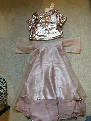 Girls River Island Gold Sequin Top Age 7 and Skirt Age 9 and Brand New