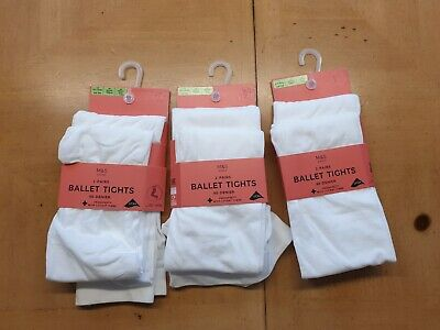 Marks and Spencer Girl's White Ballet Tights Bundle Size 3 - 4 Years - BNWT