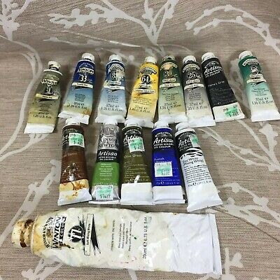 vintage 14 windsor & newton artist oil colour paint tubes