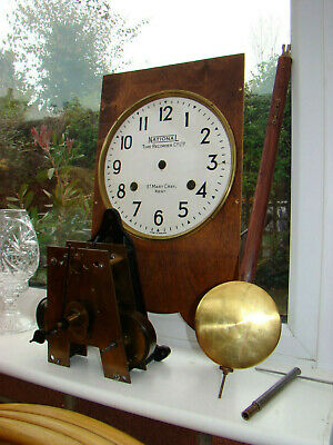 National time recorder St marys cray Kent complete movement & pendulum GWO