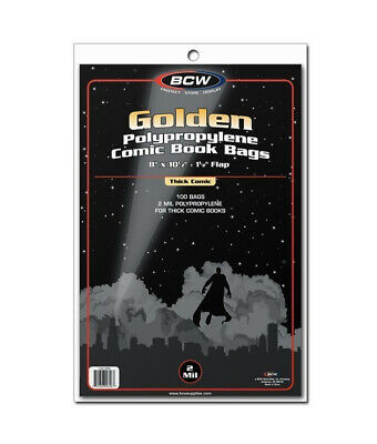 (50) Bcw Thick Golden Age Comic Book Soft Poly Acid Free Storage Bag Holders
