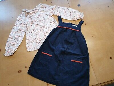 Marks and Spencer Girl's Blouse Top, Pinafore Dress Set Size 5 to 6 Years