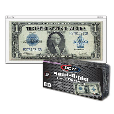 (100) Bcw Large Us Bill Size Vinyl Semi-Rigid Currency Paper Money Holders