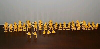Vintage yellow marx toy plastic soldiers lot western cowboy -  63pc