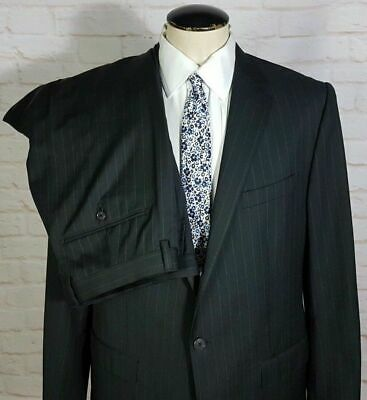 Banana Republic Men's Suit 2 pc Black Striped Wool Blend Size 40S 42S Pants 37W