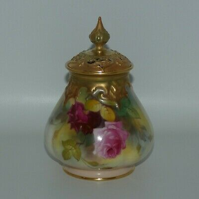 Royal Worcester handpainted and gilt Hadley Roses lidded potpourri c.1919