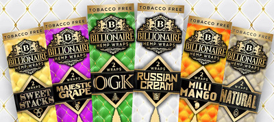 Billionaire Wraps 2 Pack Rolling Paper Cigarette Flavoured Tip Roll Tobacco Mull
