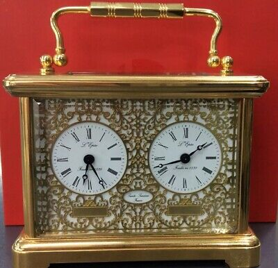 L'Epee Desk Clock Duel Time Gold Plated Made In England