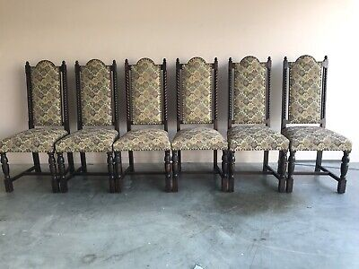 Jaycee - Jacobean style tapestry chairs x 6