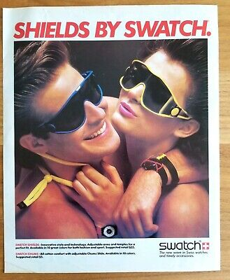 Shields by Swatch Ad 1980s Fashion Original Vintage Magazine Print Sunglasses