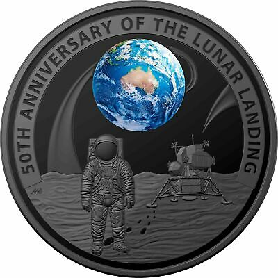 50th Anniversary of the Moon Landing 2019 $5 Nickel-Plated Domed Silver Proof...