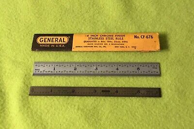 """Vintage Lot 2 General Stainless 6"""" Chrome Finish Rulers No.CF-676 w Pouch"""