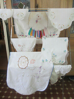 Crinoline Lady collection - embroidered aprons, doilies, tin, jug and bowl, etc