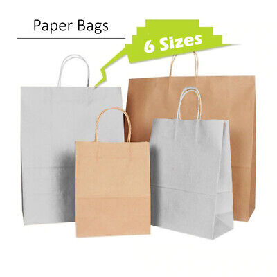 50 Brown White Twist Handle Paper Party and Gift Carrier Bags Rope Handles With