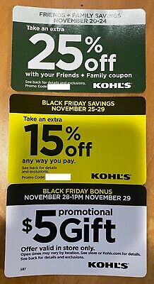 3 Kohl's Coupons, 15% and 25% Off In-Store & Online , $5 Promo Gift In-Store