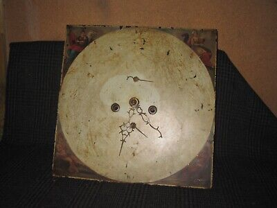 Antique Grandfather Clock Movement & Painted Dial {1}