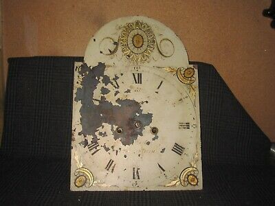 Antique Grandfather Clock Painted Dial & Clock Movement (2)
