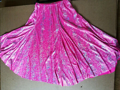 """Hot pink and silver full belly dance skirt. Elasticated waist 26""""-32"""" length 29"""""""